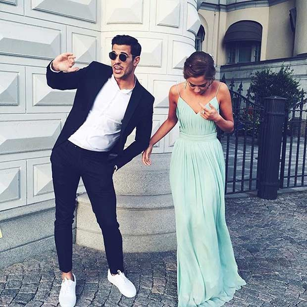 Long Mint Prom Dress with Straps