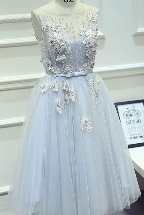 Unique Short Light Blue Prom Dress