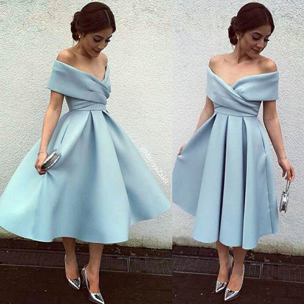 Short Light Blue Off the Shoulder Prom Dress