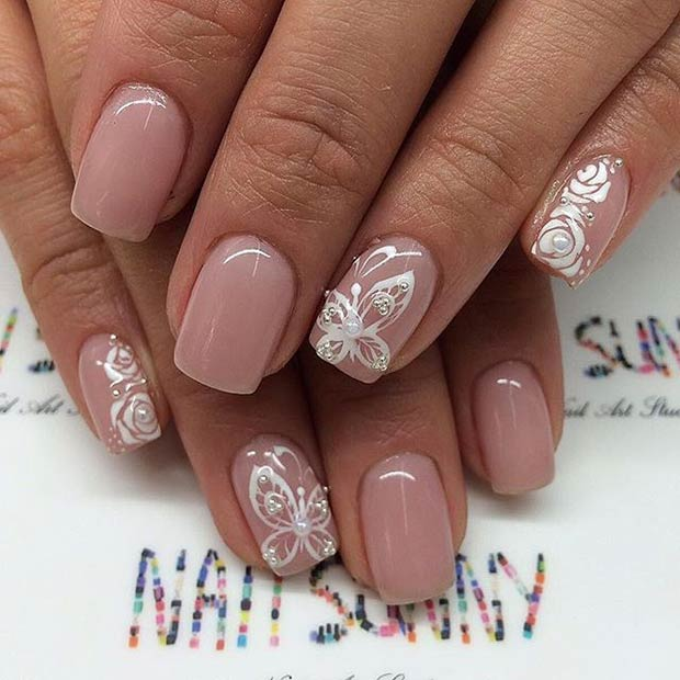 Neutral and White Prom Nails