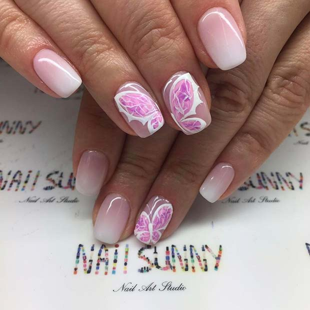 Pink and White Ombre Butterfly Nail Design for Prom