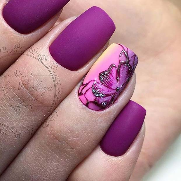 Matte Purple Prom Nails
