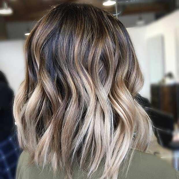 Beige Blonde Balayage on a Lob Haircut