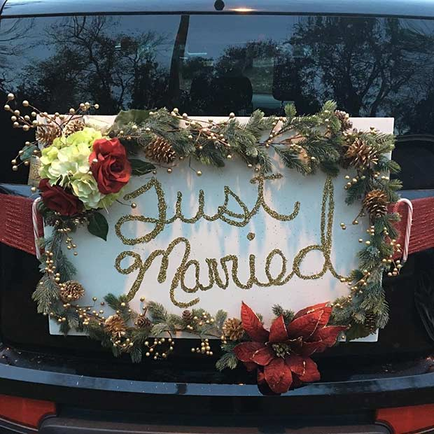 Festive Just Married Car Wreath