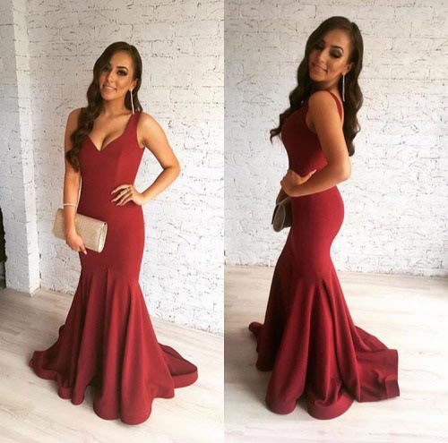 Long Red Prom Dress Gown