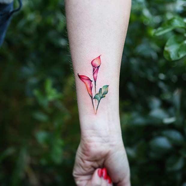 Flower Watercolor Wrist Tattoo Idea