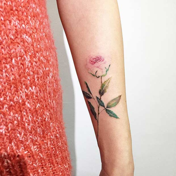 Pink rose Watercolor Flower Arm Tattoo Design