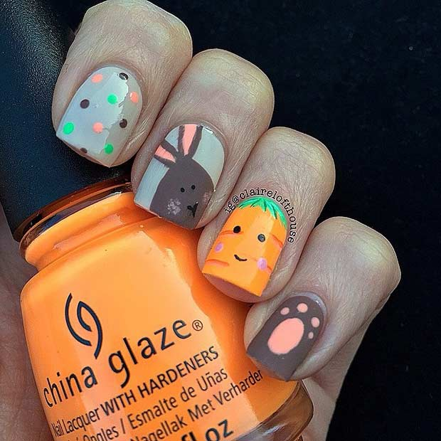 Bunny and Carrot Matte Easter Nail Design