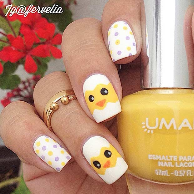 Simple and Easy Easter Chick Nails