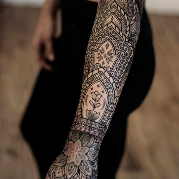 Women's Intricate Forearm Half Sleeve Tattoo