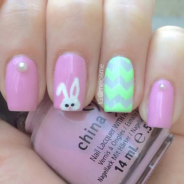 Pink and Green Bunny Easter Nails