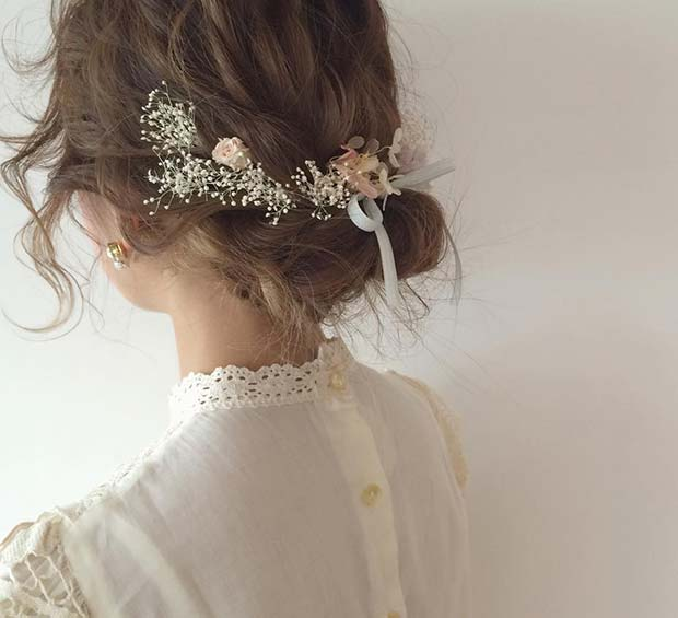 Floral Hair Idea for Prom