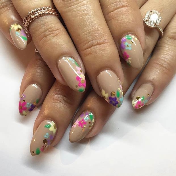 21 Gorgeous Floral Nail Designs for Spring - crazyforus