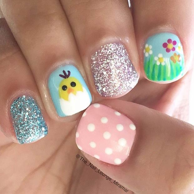 Cute Easter Nail Design for Short Nails