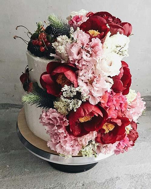 Floral Wedding Cake for Spring Wedding