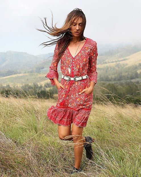 Boho Dress Outfit Idea for Summer