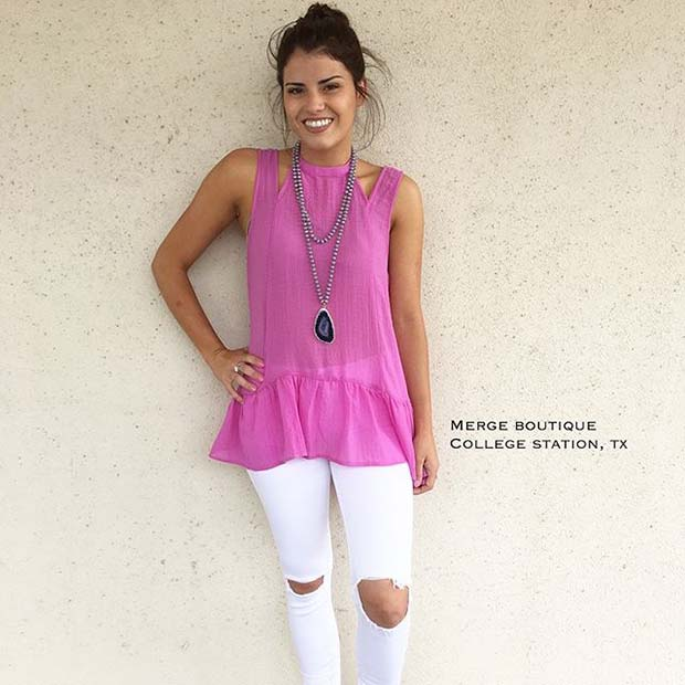 Pretty Pink Top and White Jeans Outfit Idea