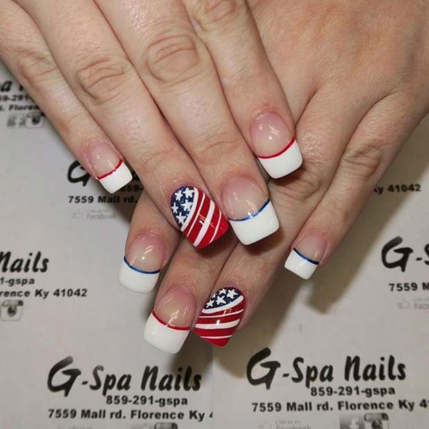 French Manicure with American Flag Accent Nail for 4th July Nail Design Idea