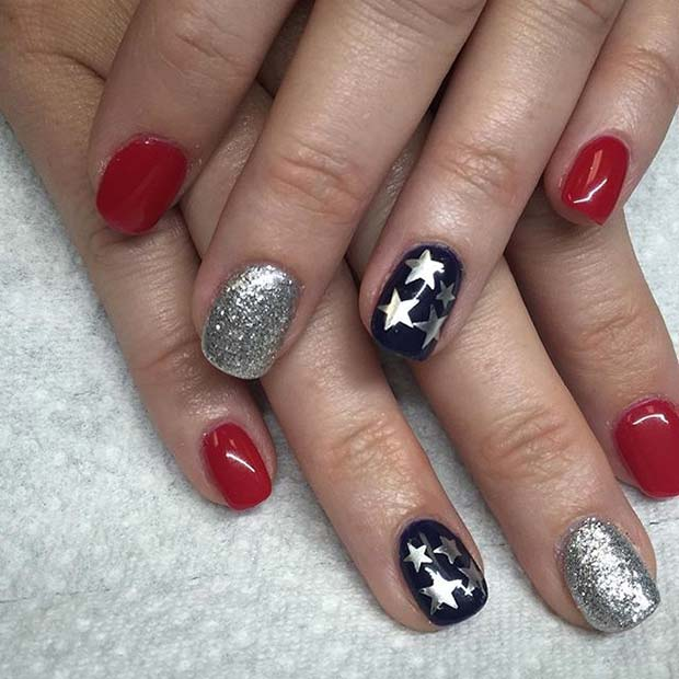 Cute Star and Glitter Accent Nails for 4th July Nail Art Design Idea
