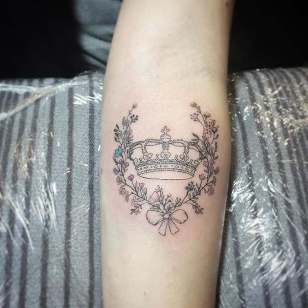 Pretty Floral Crown Tattoo Idea for Women