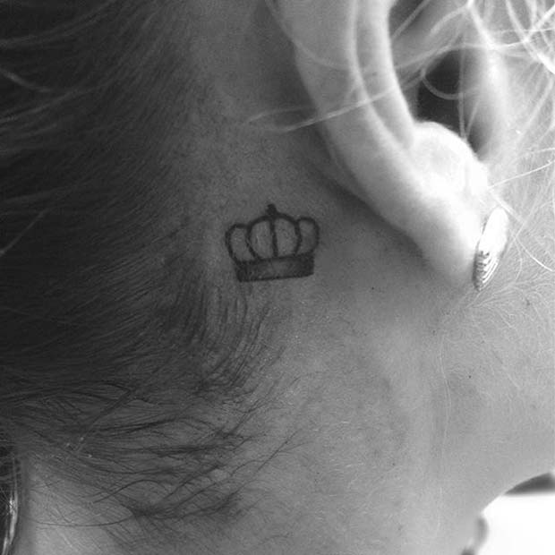 Small Crown Design Behind the Ear for Crown Tattoo Idea for Women