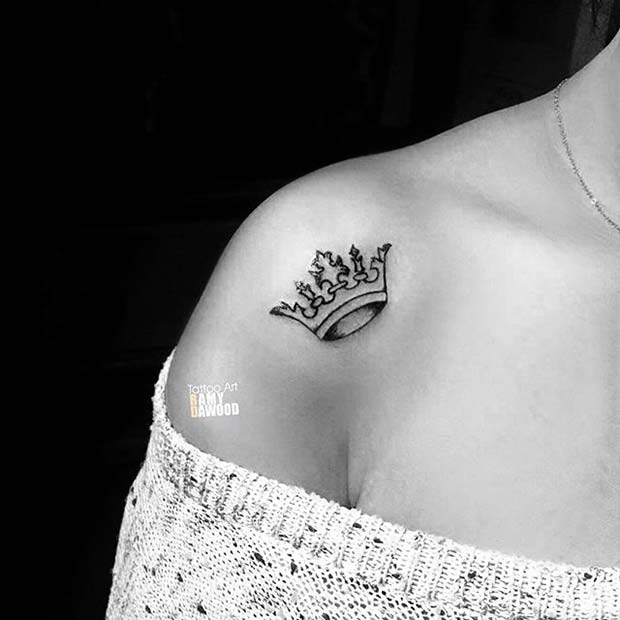 Shoulder Black Crown Tattoo Design Idea for Women