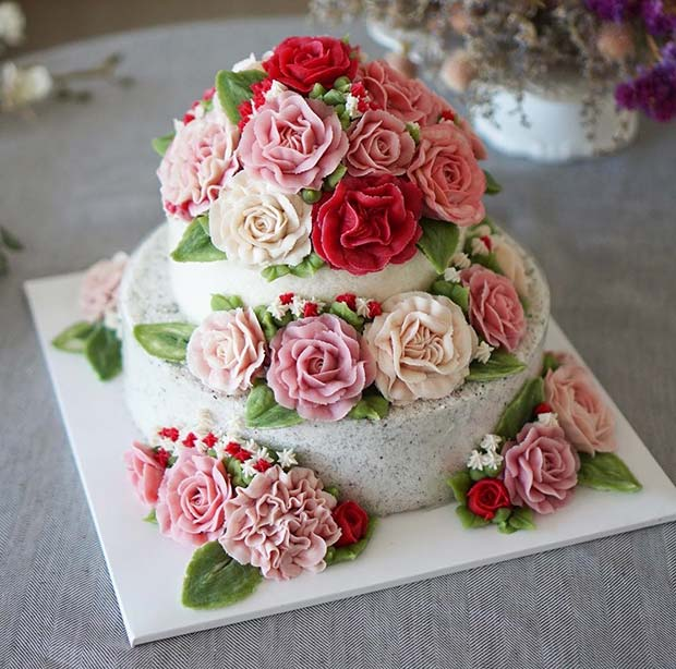 Floral Cake for Summer Wedding Cakes