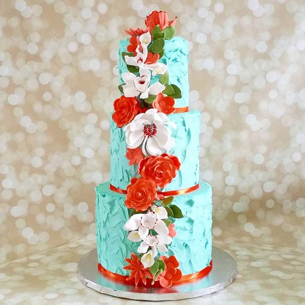 Tropical Blue Cake for Summer Wedding Cakes
