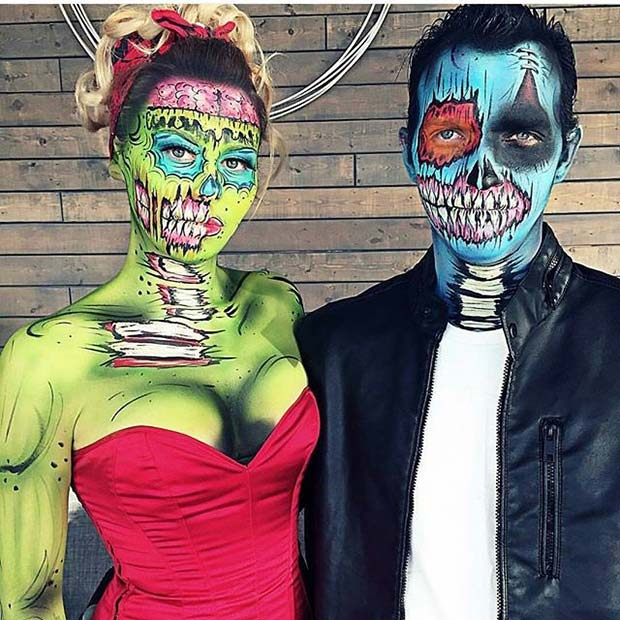 Pop Art Zombie Couple for Halloween