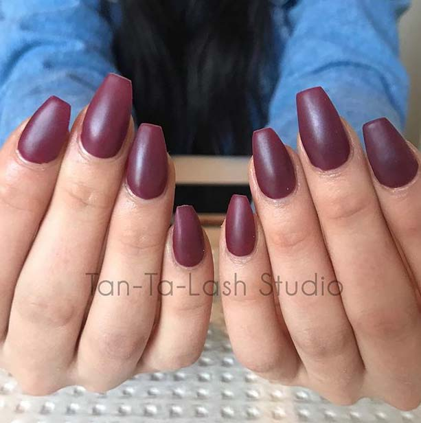 Maroon Coffin Nail Design