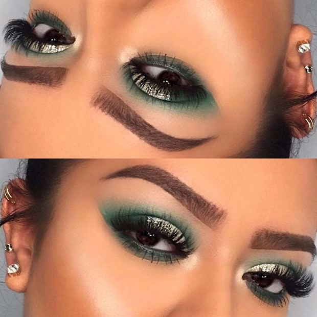 Green and Glitter Makeup for Thanksgiving Dinner