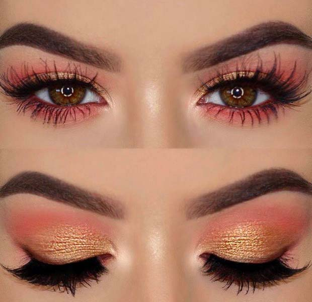 Cute Pink and Gold Eye Makeup for Makeup Ideas for Thanksgiving Dinner