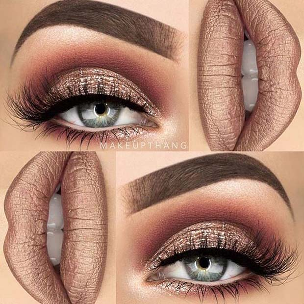 Glam Metallic for Makeup Ideas for Thanksgiving Dinner