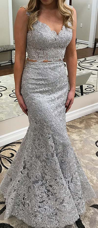 Grey Lace Two Piece Prom Dress