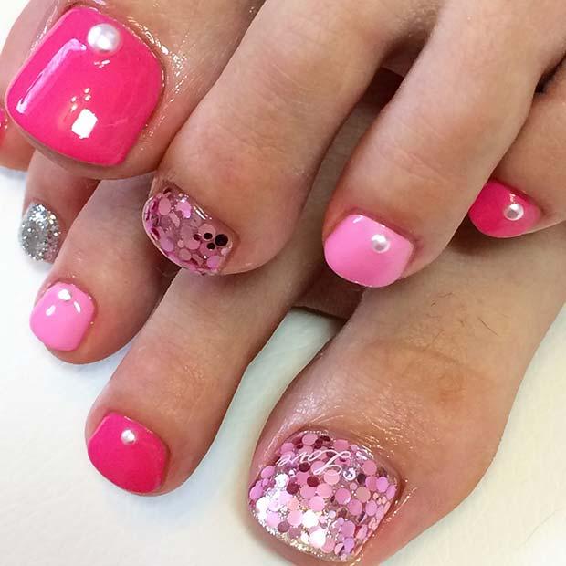 Bold Pink Toe Nail Design