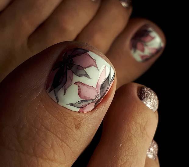 Elegant Flower Toe Nail Design