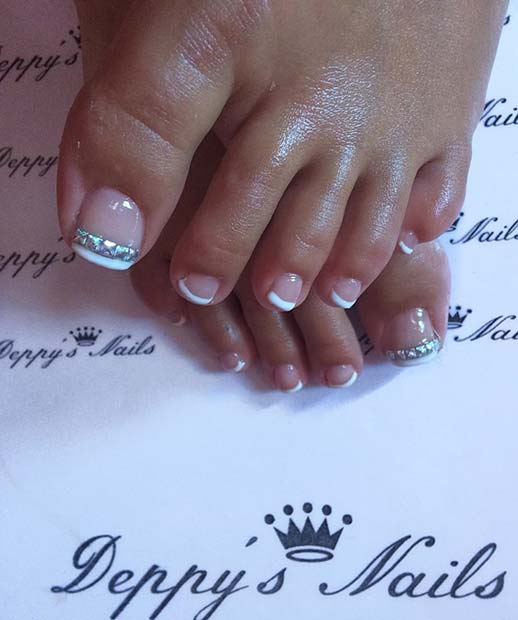 French Toe Nail Design with Rhinestones