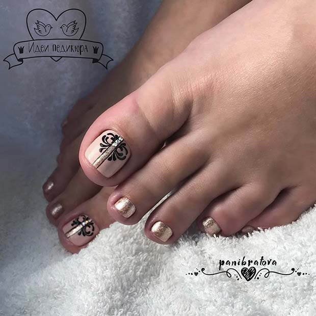 Elegant Pedicure with Sparkle