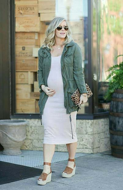 Jacket and White Dress Maternity Outfit