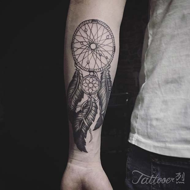 Large Dream Catcher Tattoo on Arm