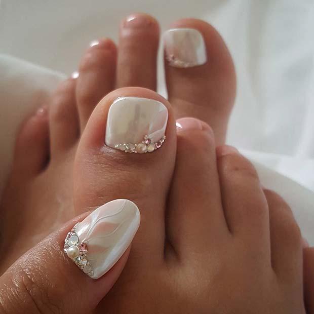Elegant White Manicure and Pedicure