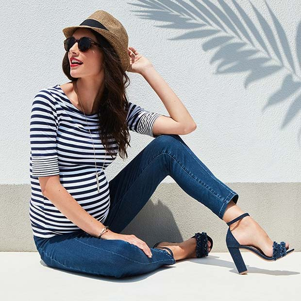 Stripe Top and Jeans Casual Maternity Outfit