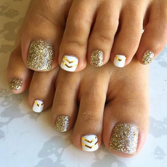 White and Gold Toe Nail Design