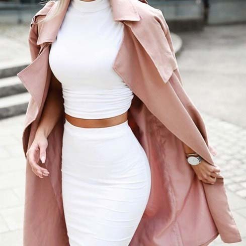 All White Crop Top and Pencil Skirt