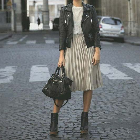 Midi Skirt and Leather Jacket Work Outfit Idea