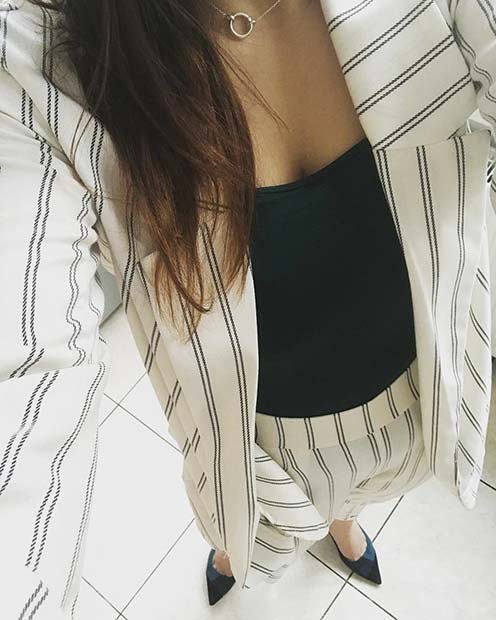Stylish Stripe Suit Work Outfit