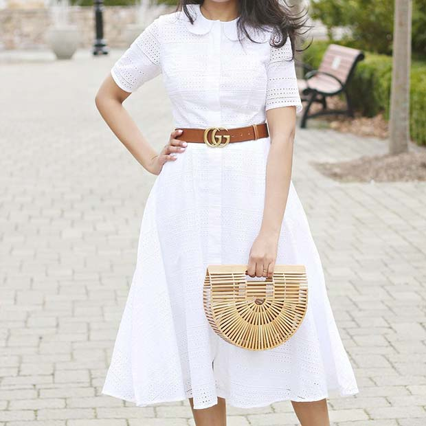 White Lace Dress Work Outfit Idea