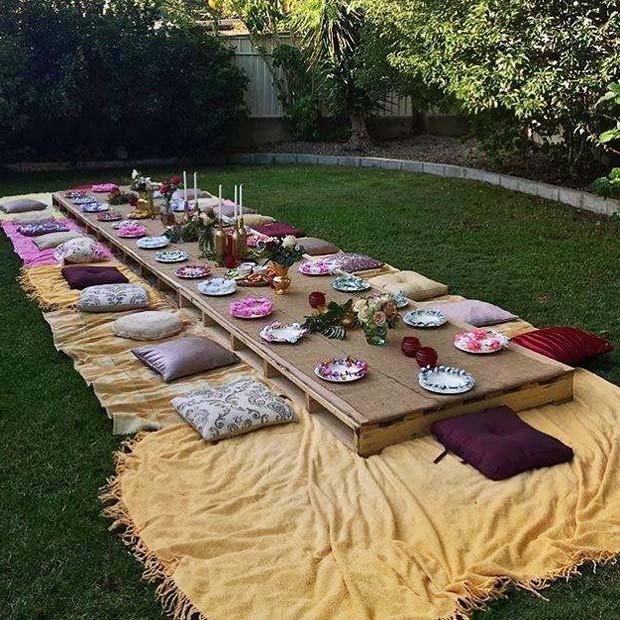 Bohemian Wedding Outdoor Seating Idea