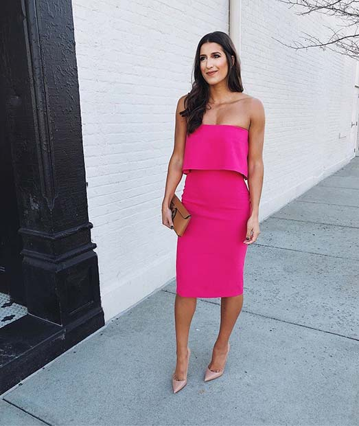 Bold Pink Dress and Nude Heels
