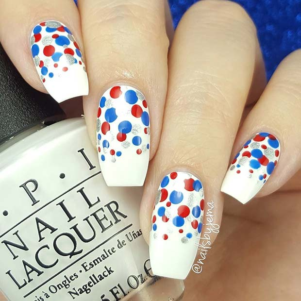 Red, Blue and Silver Polka Dot Nails